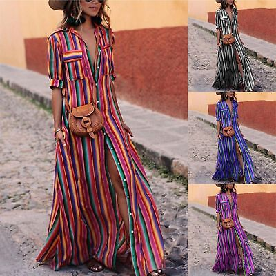 Ladies Ethnic Style Dress Vintage Fashion Stripe With Buttons Popular Skirt