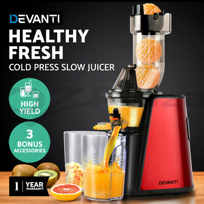 Devanti Cold Press Slow Juicer Stainless Steel Vegetable Processor Extractor