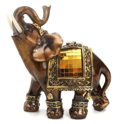 Feng Shui Lucky Elegant Elephant Trunk Statue Wealth Figurine Ornament Gift -