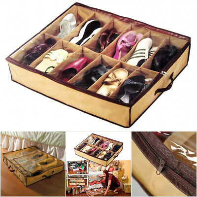 12 Pairs Shoes Storage Organizer Holder Container Under Bed Shoe Closet Box Bag