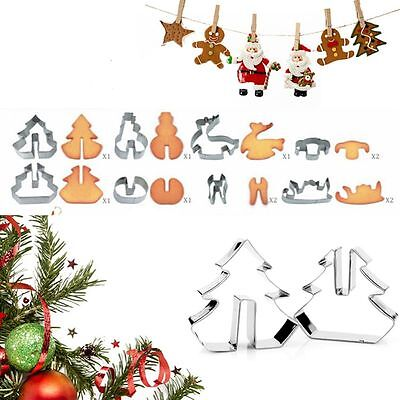 8pcs 3D Christmas Cookie Cutters Set Cake Decoration Stainless Steel Biscuit New