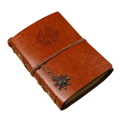Pu Leather Cover Notebook Diary Travel journal Note with Leaf Pendant Book Brown