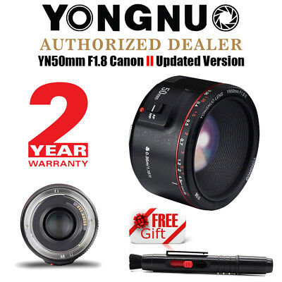 2018 New Yongnuo YN 50mm F1.8 II AF Fixed Lens for Canon + Cleaning Pen US