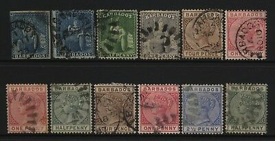 Barbados Collection 12 QV / Britannia Stamps Used