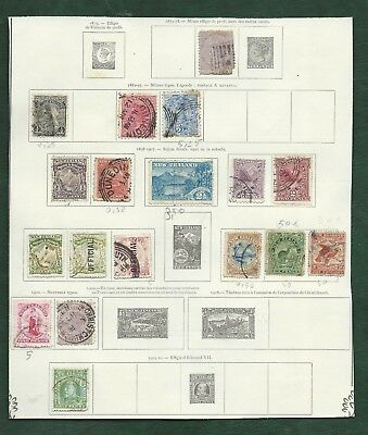 British Empire NZ North Borneo Aussie states MH & used old stamps on album pages