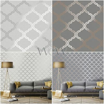 Holden Glistening Geometric Trellis Wallpaper Metallic - Silver Rose Gold Grey