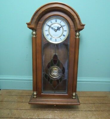 Antique Style President Wall Clock with Pendulum & Westminster Chime -Oak Finish
