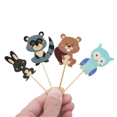 24pcs Woodland Animal Cupcake Toppers Forest Birthday Party Decorations Z