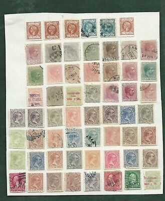 Spain old colonies Puerto Rico MH and used old stamps on album pages