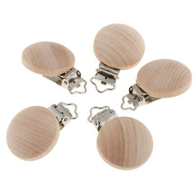 5Pcs Wood Pacifier Clips Baby Suspender Clip, Dummy Nipples Holder Safe
