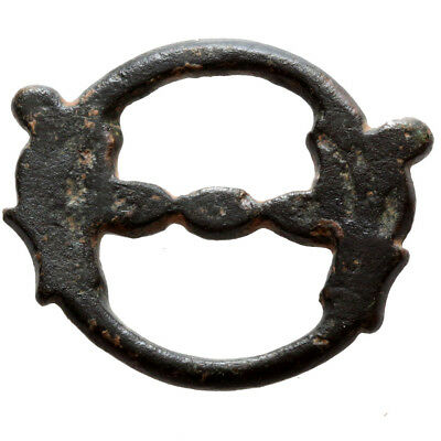 Museum Quality Roman Bronze Ring With Nice Glass Stone Circa 100-300 Ad