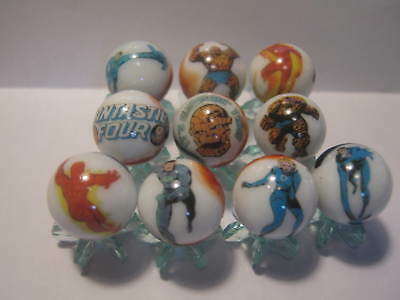 FANTASTIC FOUR glass marbles collection lot 5/8 size + STANDS