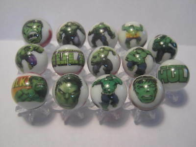 Incredible Hulk collection lot glass marbles 5/8size with stands