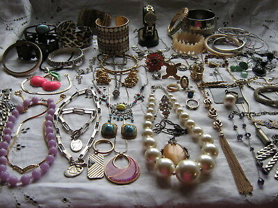 Over 80 Items Large Job Lot Of Costume Jewellery Plus A Ladies New Watch