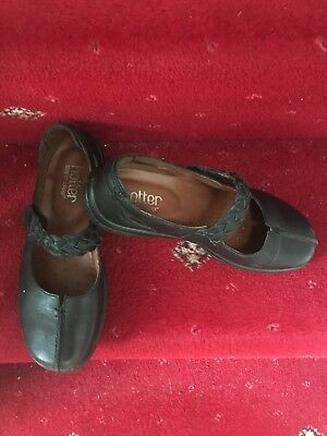 Size 4/37 Hotter Real Leather Mary Jane Shoes Black Worn A Few Times