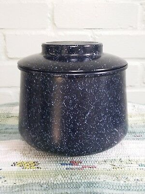 Bartlett Collins Granny Glass Dark Blue White Specks Short Canister Jar