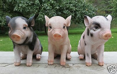 3 Pig Figurines Spotted animal farm piglets resin  new Piglets 6 in. H. New