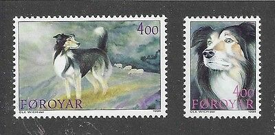 Dog Head Body Portrait Postage Stamp Sable BORDER COLLIE Faroe Islands 2x MNH