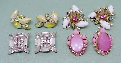 Vintage lot 4 pair earrings rhinestone pink yellow clear 1 pair Kramer