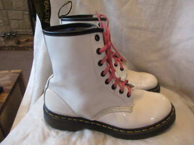 Dr Martens white patent leather ankle boots size 6.5