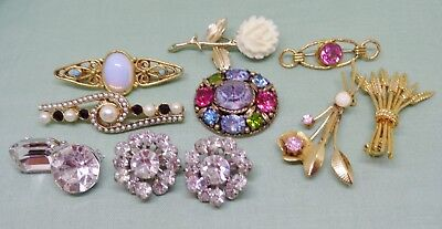 Vintage small lot 10 scatter pins brooch rhinestone flowers bar
