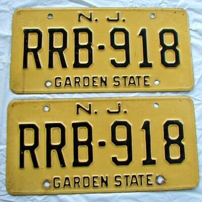 """1969 New Jersey Auto Reflective  License Plate Plates Matching Pair """" Rrb 918 """""""