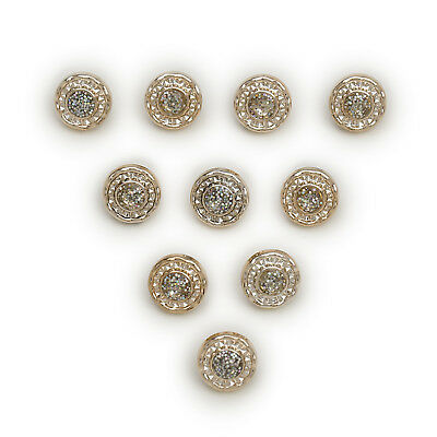 50pcs Gold Round Shank Resin Buttons Sewing Scrapbooking Clothing Decor 13mm