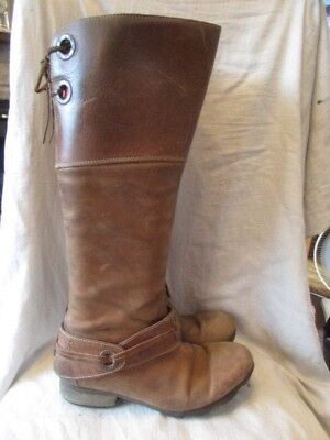 Brown leather knee length boots size 6 by Fly London