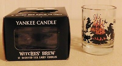 YANKEE CANDLE WITCHES BREW TEA LIGHT CANDLES new + VINTAGE GLASS CANDLE HOLDER