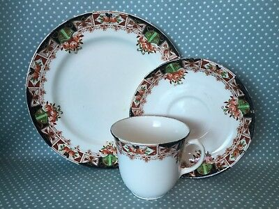 Antique Victorian Royal Sutherland China trio. Cup, saucer & side plate. No.1076