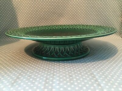 Antique Minton green majolica tazza or cake stand, basket weave effect. c1860.
