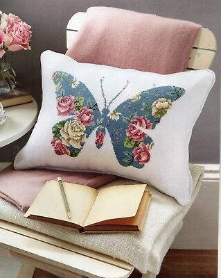 Cross stitch chart. Vintage style butterfly cushion.