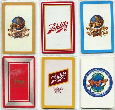BEER:  Schlitz, Stag And Stingray -  6 Single Swap / Playing Cards