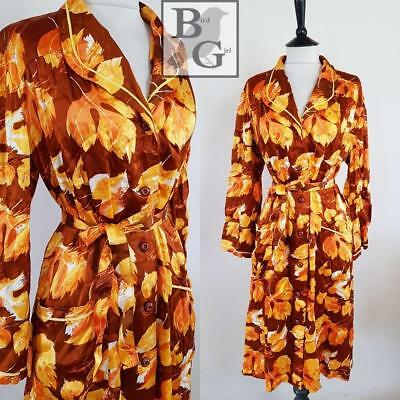 Bold Leaf Print 1960S Vintage Brown  Boho Retro Lounge Robe 20-22 Xl