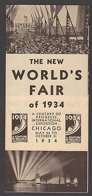 RARE vintage 1934 brochure, THE NEW WORLDS FAIR OF 1934 CHICAGO