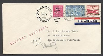 US 1950 Prexie Airmail Special Delivery (806,C39,E17) California Cover