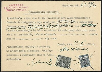 POLAND GENERAL GOVERNMENT w/ GERMAN Revenues on 1943 Power of Attorney Document