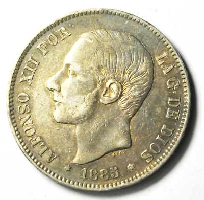 1885 (85)  MS-M 5P Spain 5 Pesetas Silver Coin KM# 688