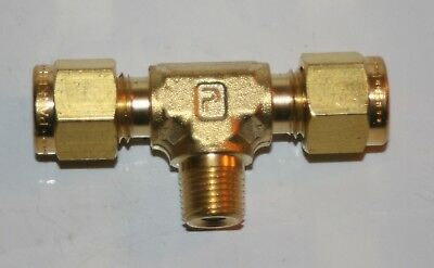 "1/4"" OD Tube x 1/8"" MNPT Branch Tee Brass Fitting Parker / Swagelok"