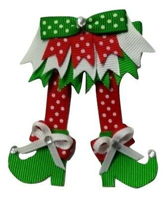 """NEW """"ELF SHOES"""" Girls Hair Bows Christmas Ribbon Sculpture Elves Holiday Eve"""