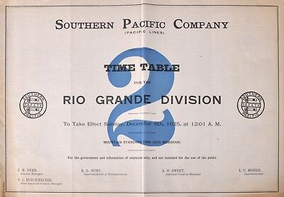 PDF File - Dec 6 1925 Southern Pacific Company #2 Employee Railroad Timetable
