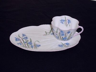 "Shelley Dainty ""Scilla"" Blue Pink Green Cup & Snack Plate Set - Very Rare Find!"