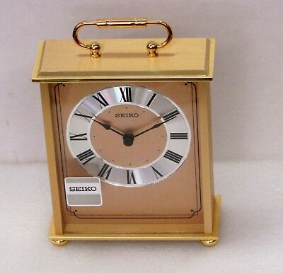 New Seiko Brass Mantle Clock  Qhg102Glh