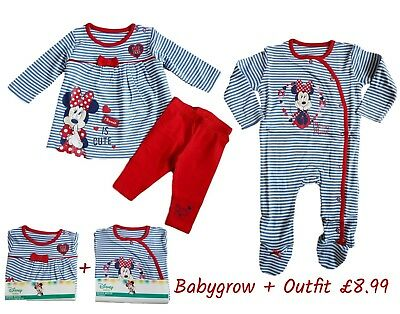 Baby Girls MINNIE MOUSE Babygrow and Outfit Sleepsuit Gift Set Top Leggings
