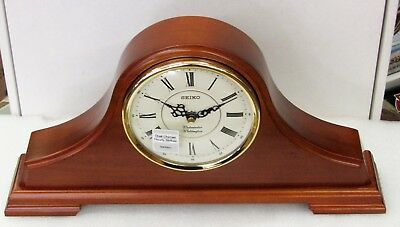 Seiko Dark Brown Solid Oak Mantle Clock With Dual Chimes Qxj008Blh