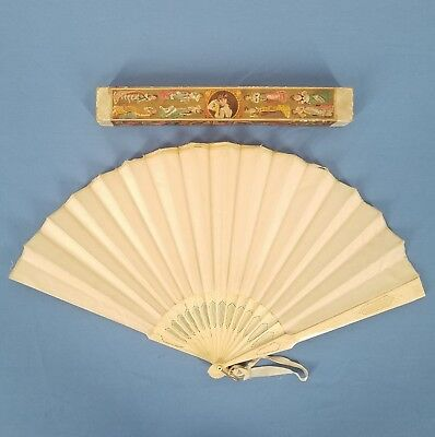 Antique Asian Hand Fan + Box Pierced & Carved Sticks Solid Silk as is