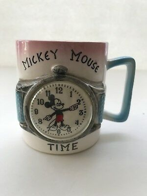 Vintage Mickey Mouse Time Childs Mug Walt Disney Productions