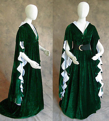 Green Scalloped Renaissance Medieval Dress SCA Ren Faire Game of Thrones LOTR M