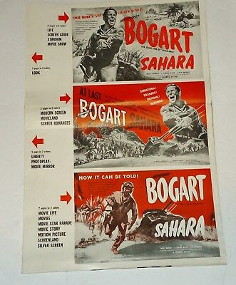 1943 SAHARA Starring BOGART -  MOVIE ADVANCE PUBLICITY FLYER POSTER SAMPLES