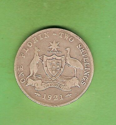 #c34. 1921  Australian Sterling Silver Florin Two Shilling  Coin